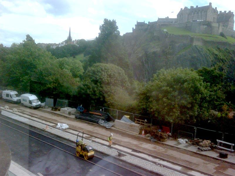 Tram line under construction in Prices Street