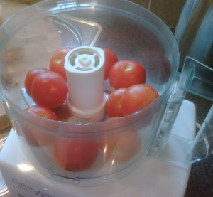 Pulp the tomatoes in a food processor