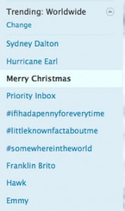 Merry Christmas Trending on Twitter