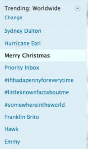 Merry Christmas Trending on Twitter