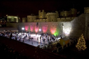 Tower of London ice rink by night