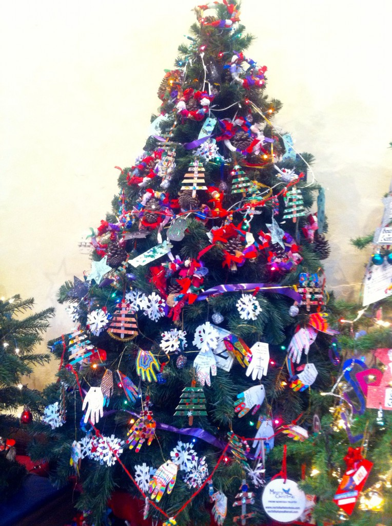 Christmas tree decorated with homemade Christmas decorations