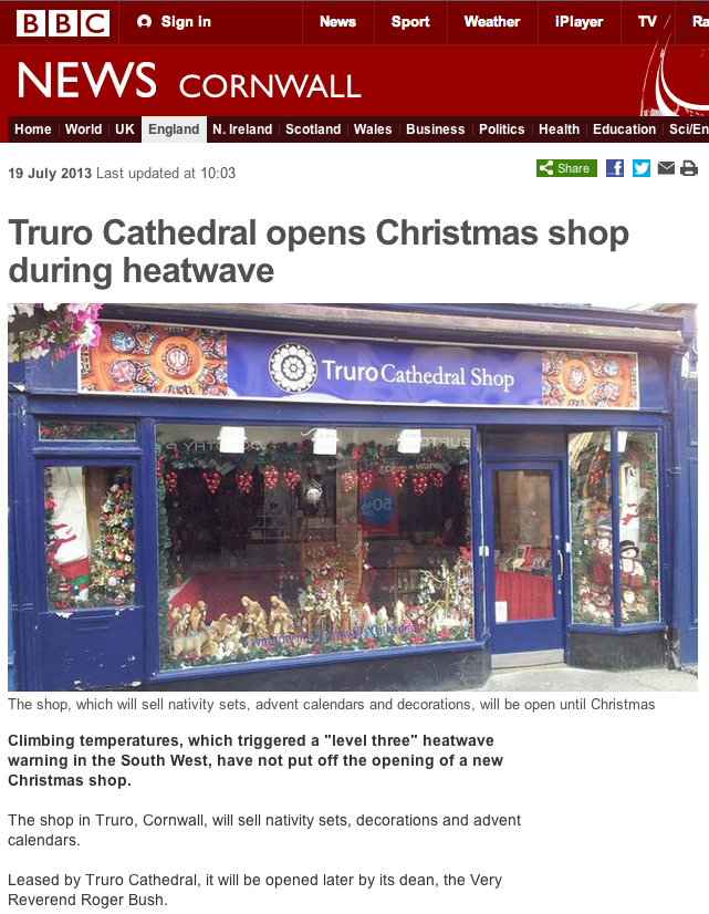 Christmas Shop Opens In Truro, Cornwall