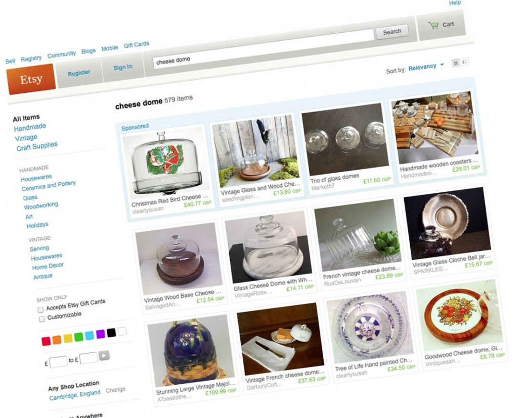 Etsy cheese dome