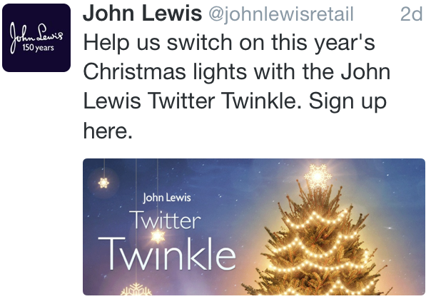 John Lewis Christmas Lights Tweet