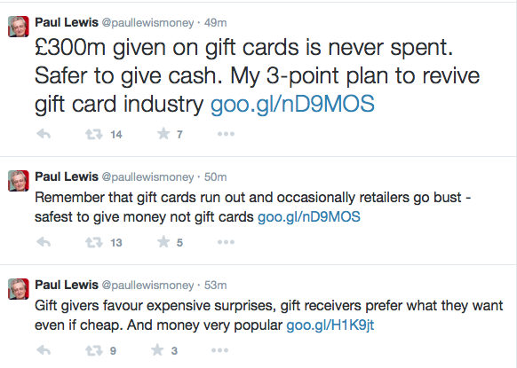 Paul Lewis Gift Card Tweet