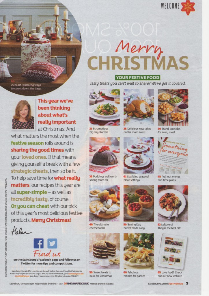 Sainsbury's Christmas Page 3 Main Contents Page