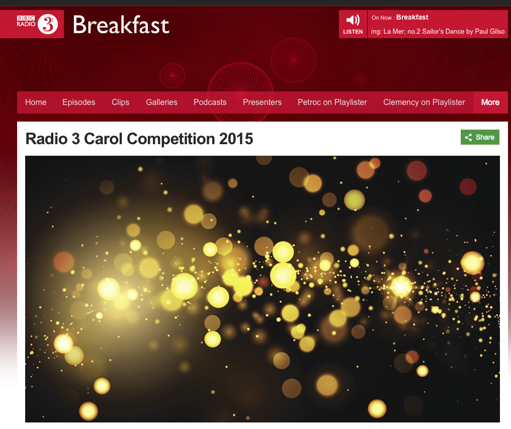 BBC Radio 3 Christmas Carol competition