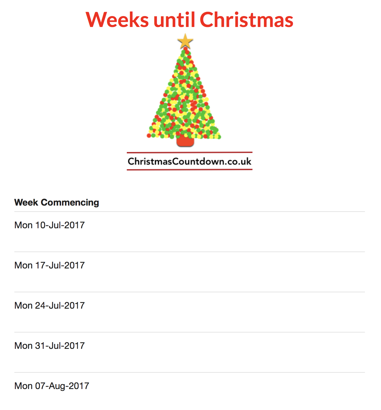 It's 24 weeks until Christmas 2017